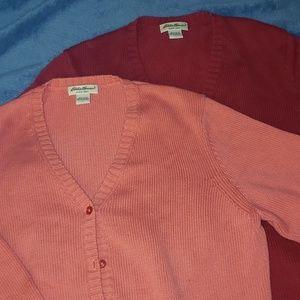 2 Eddie Bauer Knit V-Neck Cardigan Set Red & Cora